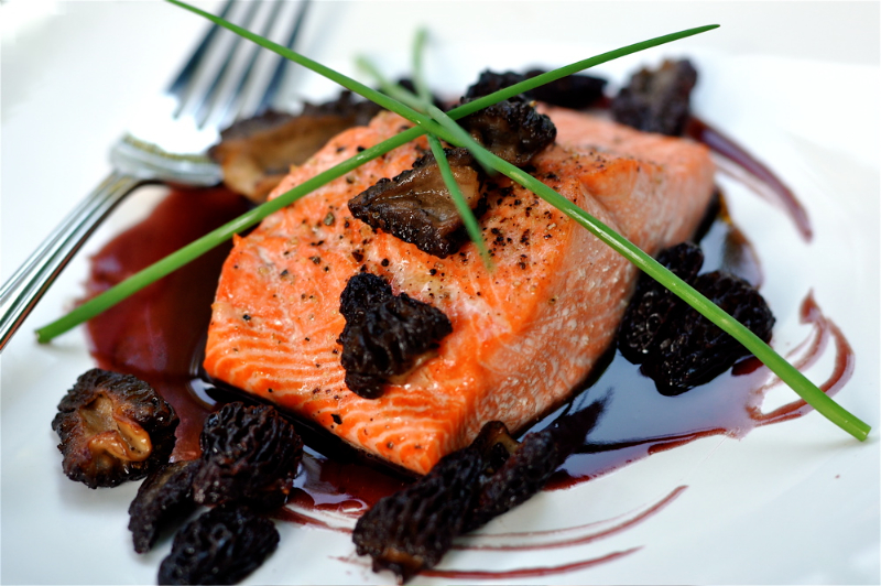 Spring Chinook with Pinot Noir Sauce & Morels